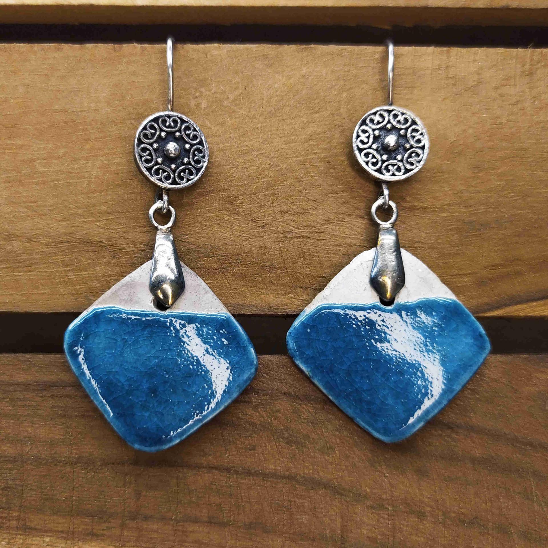 Bo losange bleu canard bicolore