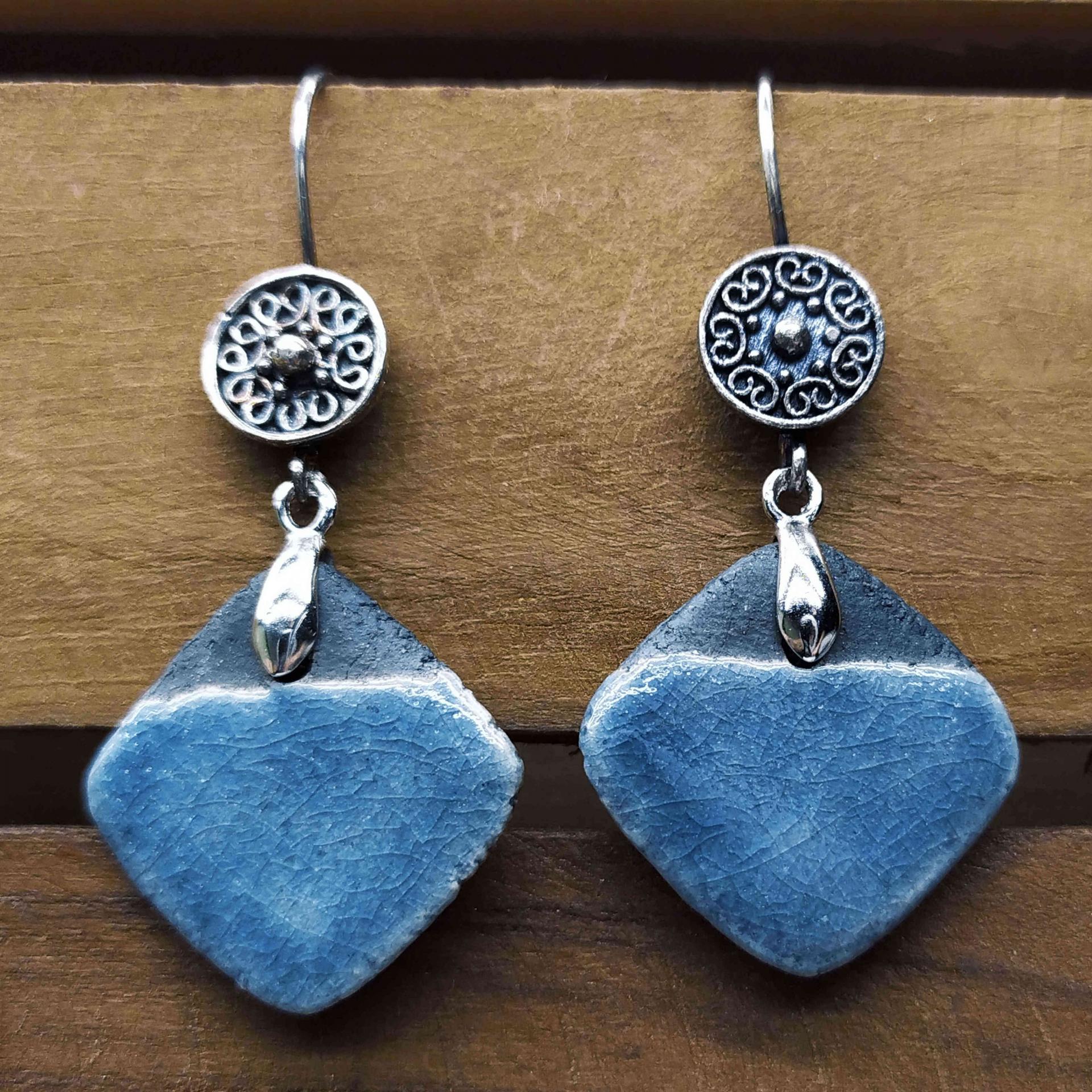 Bo losange bleu gris bicolore