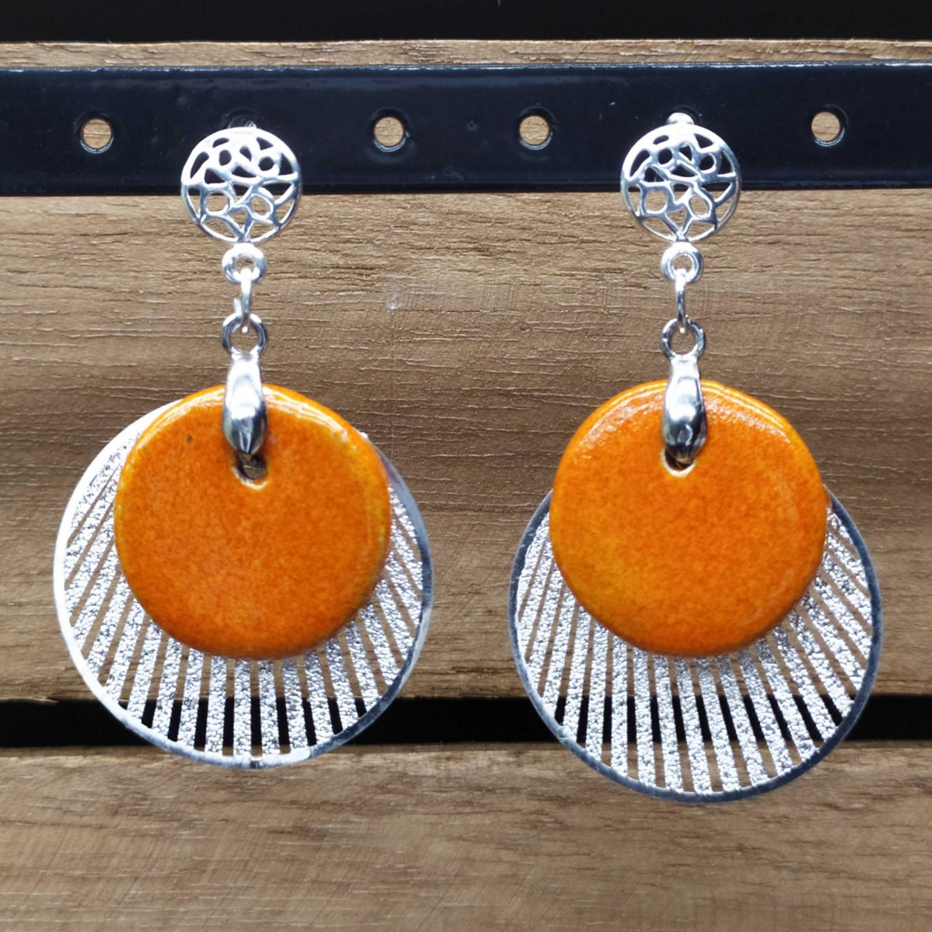 Bo rond raku orange soleil