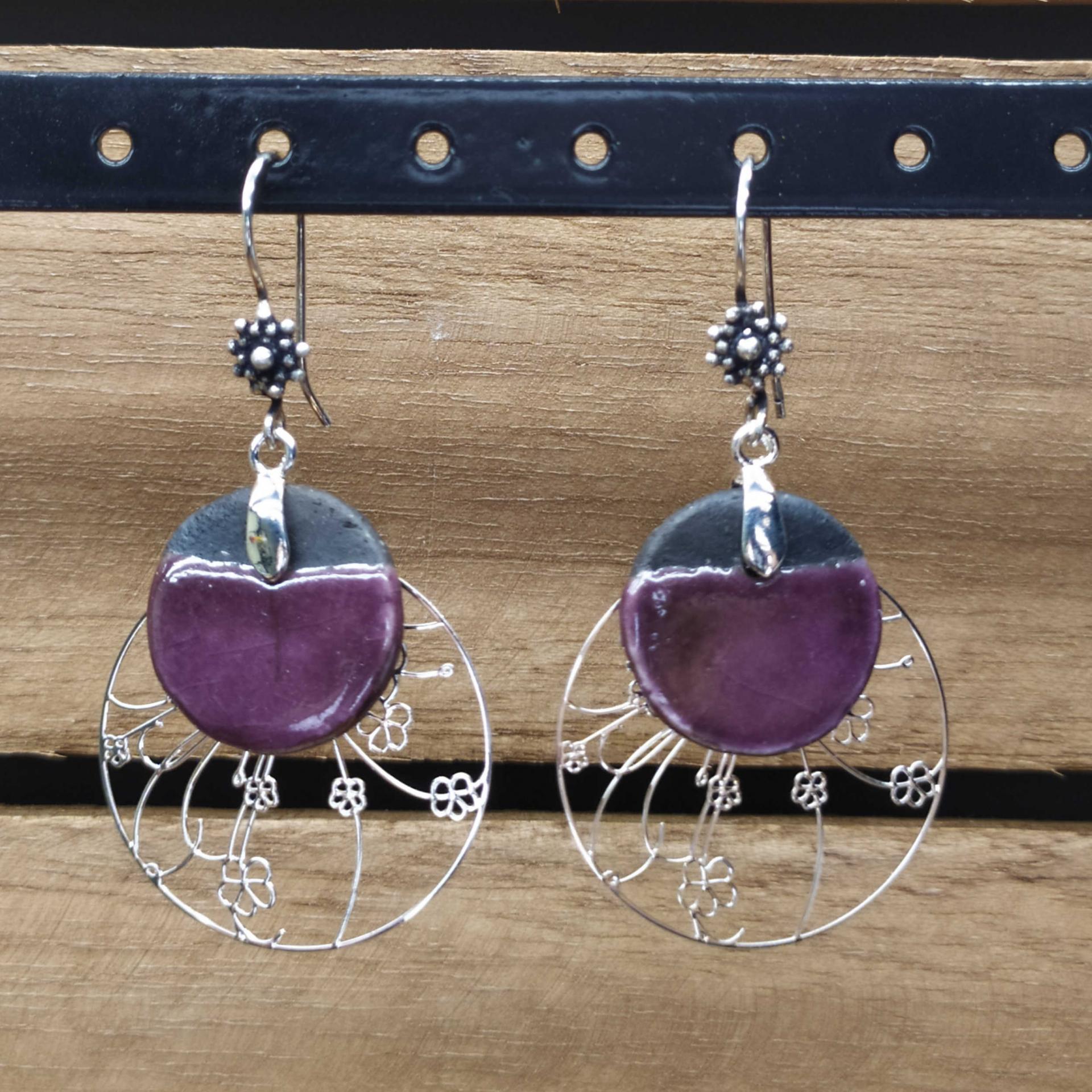 Bo ronde raku violet printemps