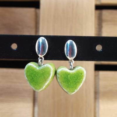 Boucles d'oreilles Coeur Vert Clair
