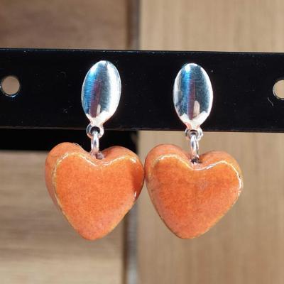 Boucles d'oreilles Coeur Orange