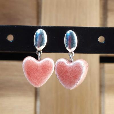 Boucles d'oreilles Coeur Corail