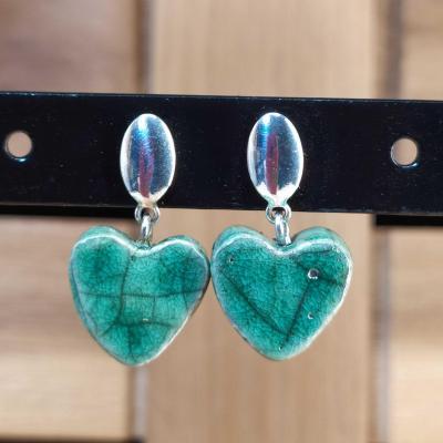 Boucles d'oreilles Coeur Vert