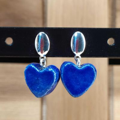 Boucles d'oreilles Coeur Bleu Foncé