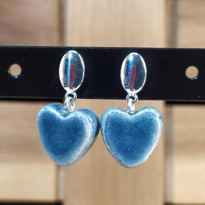 Boucles d'oreilles Coeur Bleu Gris