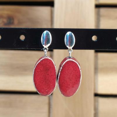 Boucles d'oreilles Oval Rouge