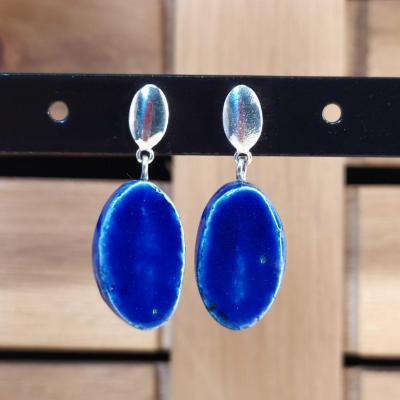Boucles d'oreilles Oval Bleu Foncé