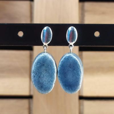 Boucles d'oreilles Oval Bleu Gris
