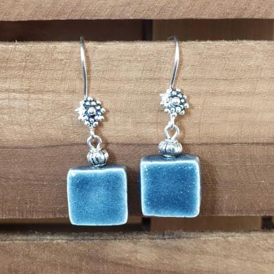 Boucles d'oreilles Carré Bleu Gris