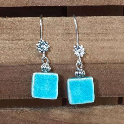 Boucles d'oreilles Carré Turquoise