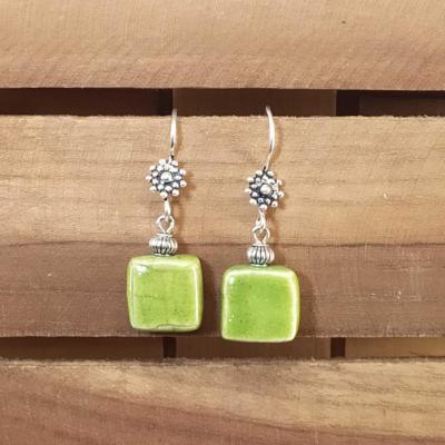 Boucles d'oreilles Carré Vert