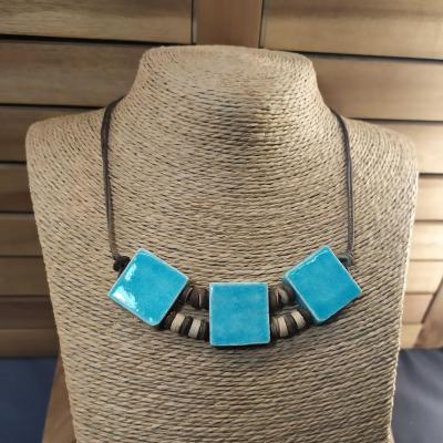 Collier 3 carrés Turquoise
