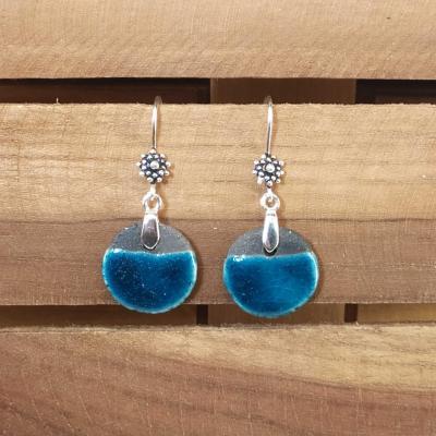 Boucles d'oreilles Rond Bleu Canard