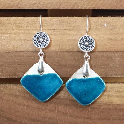 Boucles d'oreilles Losange Bleu Canard