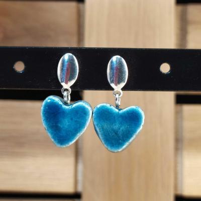 Boucles d'oreilles Coeur Bleu Canard