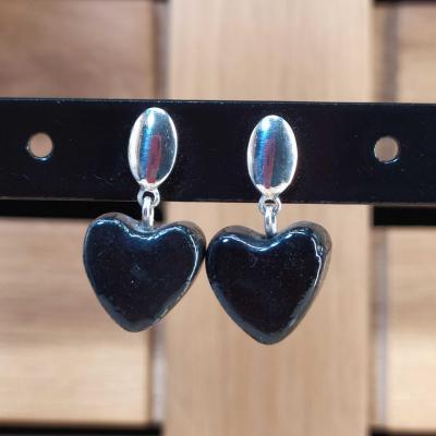 Boucles d'oreilles Coeur Noir