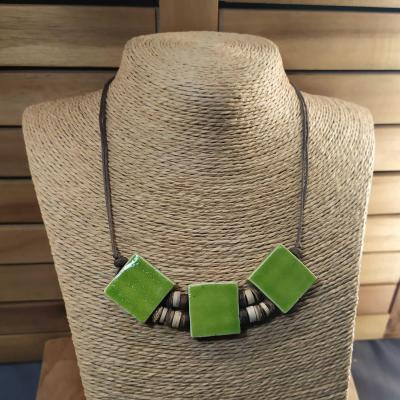 Collier 3 carrés Vert
