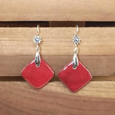 Boucles d'oreilles Losange Rouge