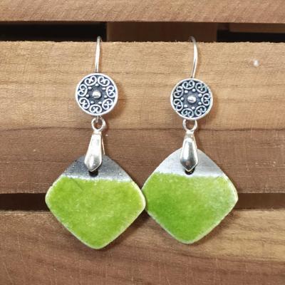 Boucles d'oreilles Losange Vert