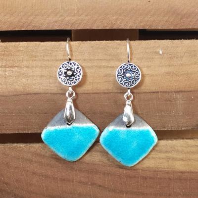 Boucles d'oreilles Losange Turquoise