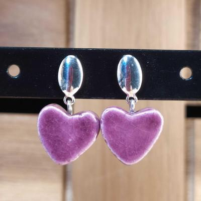 Boucles d'oreilles Coeur Violet