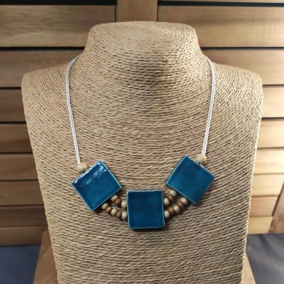 Collier 3 carrés Bleu Canard
