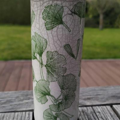 Vase petit tube ginkgo vert