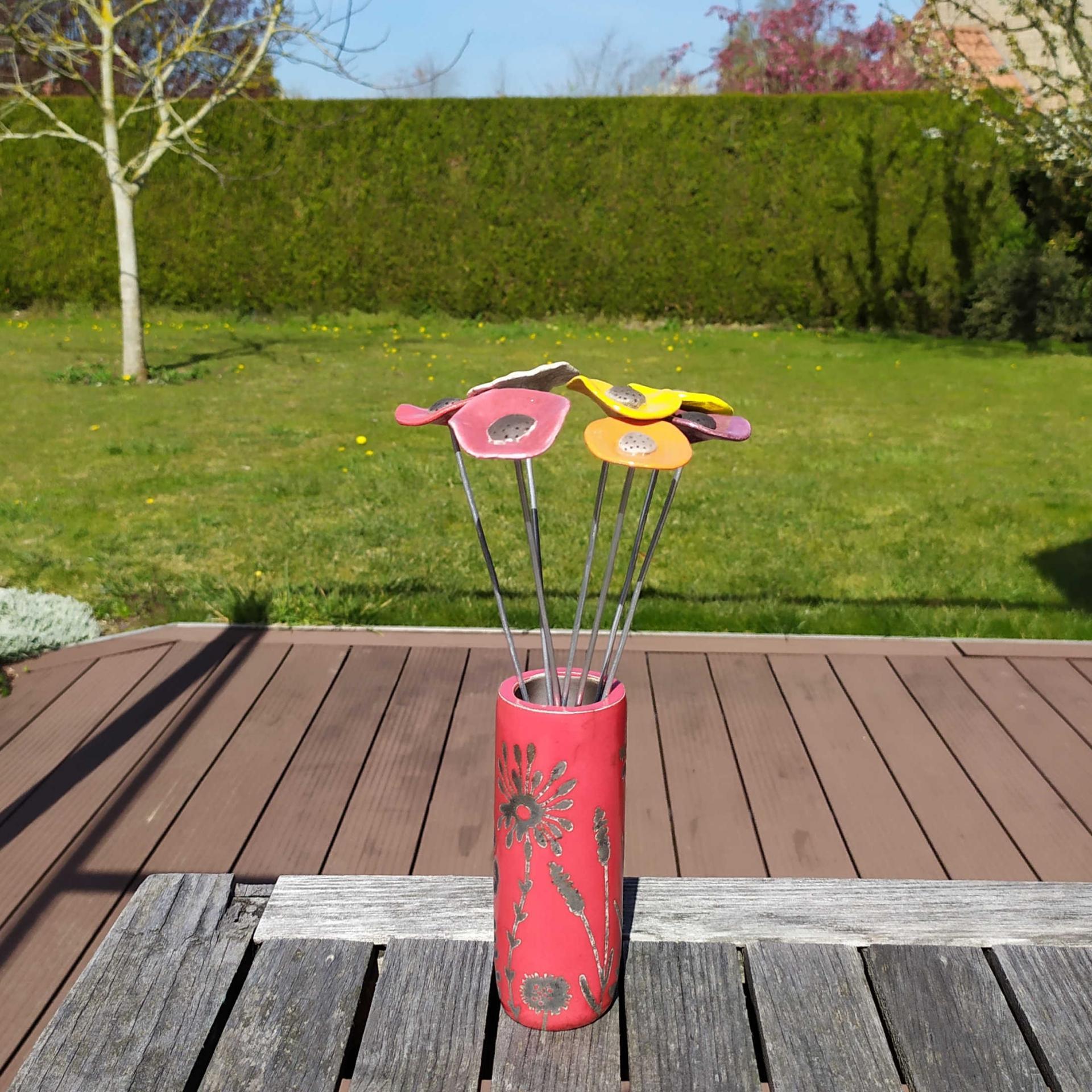 Vase petit tube hf rouge