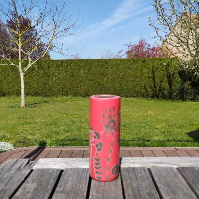 Vase Petit Tube Herbes Folles Rouge